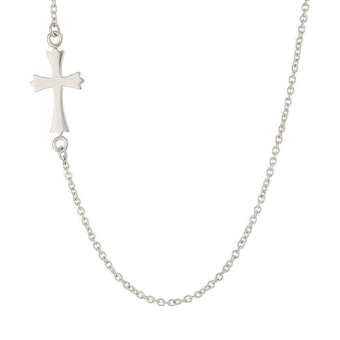 "Stainless Steel 23"" Side Cross Pendant Necklace"