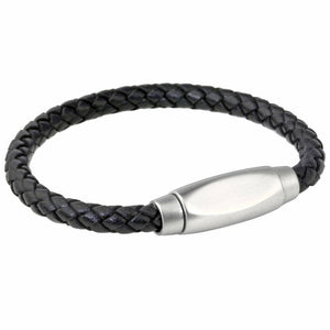 Black Leather Bracelet Stainless Steel Magnetic Clasp