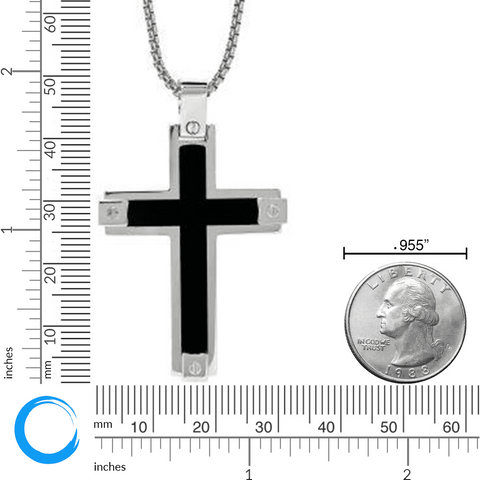 Image of Lavari - Stainless Steel Black Resin Cross Pendant