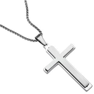 Stainless Steel Satin Finish Double Layers Cross Pendant Necklace