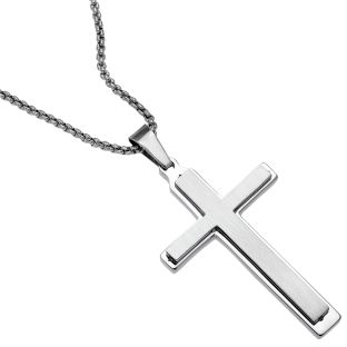 Image of Stainless Steel Satin Finish Double Layers Cross Pendant Necklace