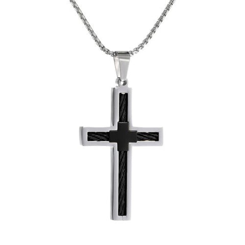 Stainless Steel Cable Cross Pendant