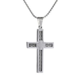 Image of Stainless Steel Cable Cross Pendant