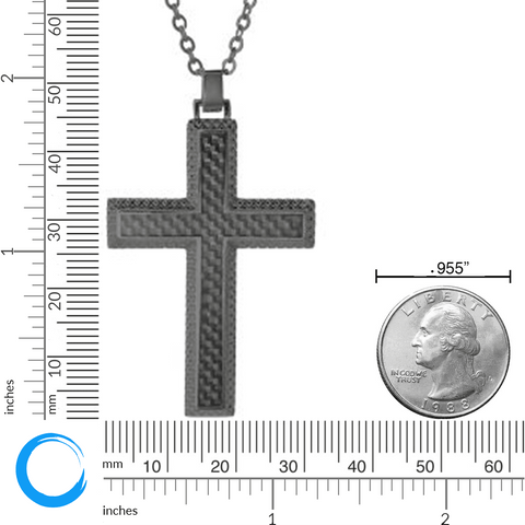 Lavari Cross Pendant Necklace with Carbon Fiber in Gunmetal Grey Stainless Steel