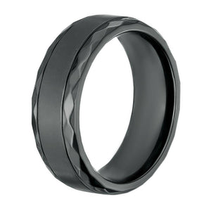 Lavari - Men's Black Zirconium Ring – 8 mm – Black - Subtle Texture Edges