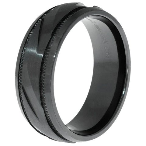 Lavari Men's Textured Ring in Black Zirconium