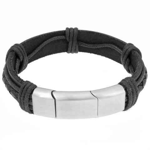 Image of Stainless Steel and Leather Bracelet