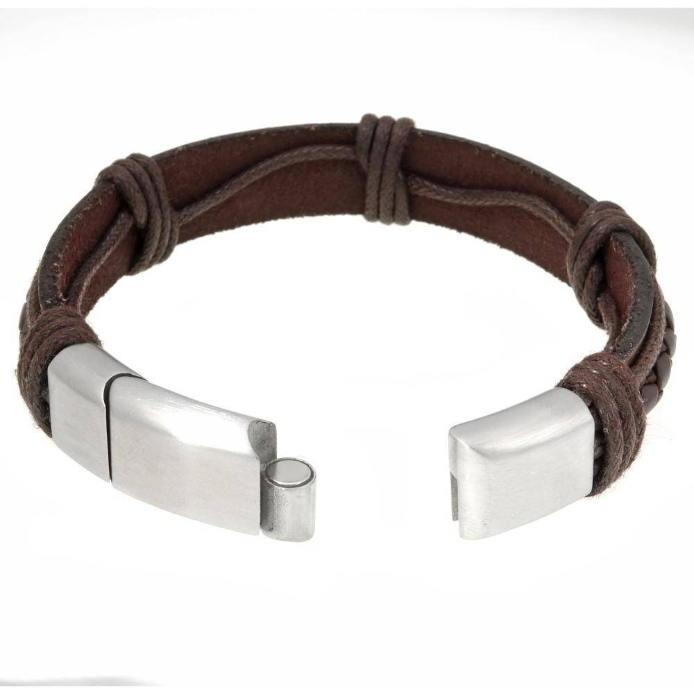 Stainless Steel and Leather Bracelet