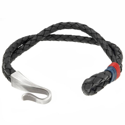 Image of Black Leather Bracelet with Blue and Red Accent