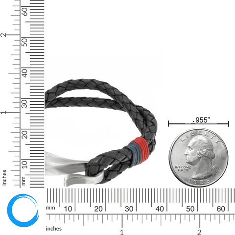Black Leather Bracelet with Blue and Red Accent