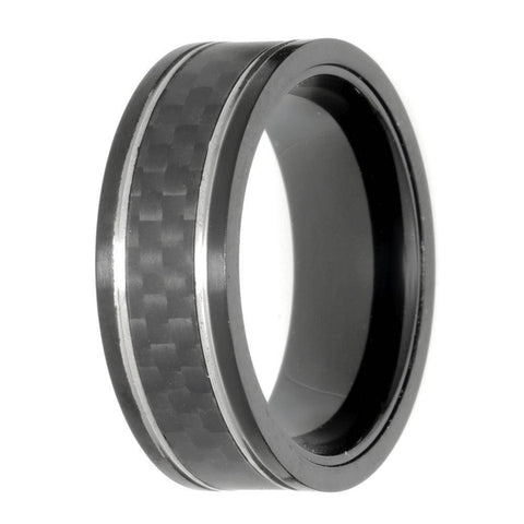 Lavari Forged Carbon Fiber Ring in Black Stainless Steel