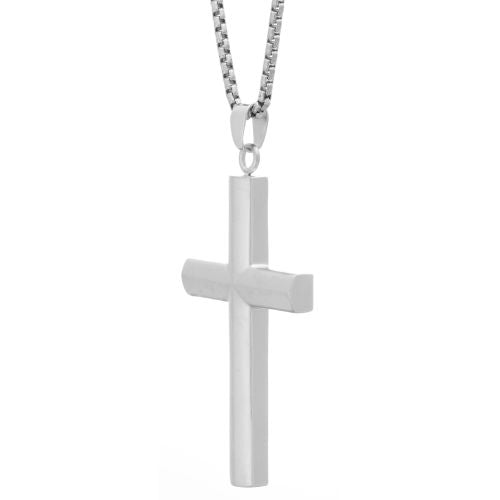 "Stainless Steel Cross Pendant on a 24"" Box Chain"