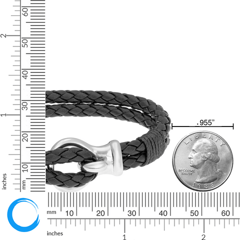 Image of Braided Black Leather Bracelet