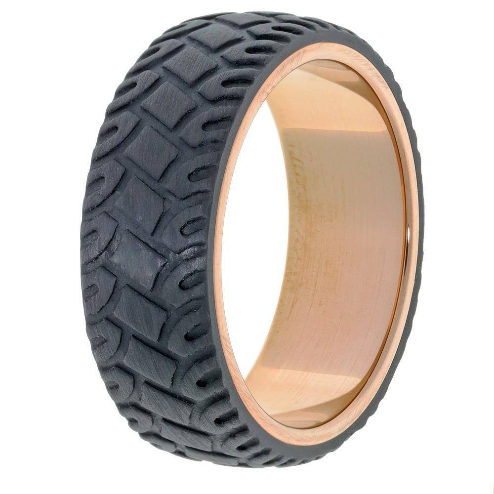 Lavari - Forged Carbon Band Stainless Steel Ring with Rose Gold Plating - Size 8-12 - Men's