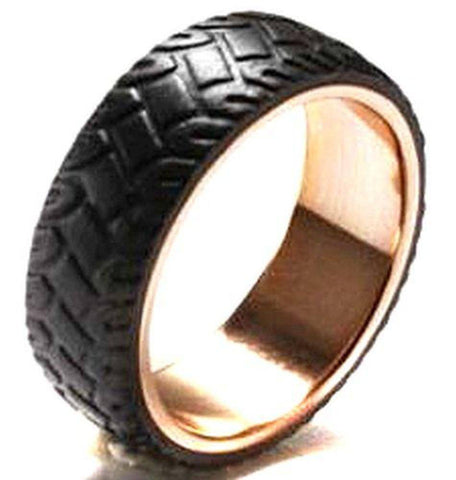 Image of Lavari - Forged Carbon Band Stainless Steel Ring with Rose Gold Plating - Size 8-12 - Men's