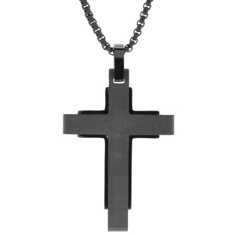 "Image of Lavari - Men's Forged Carbon Fiber Cross Pendant Necklace – Stainless Steel – 18"" Length - Black"