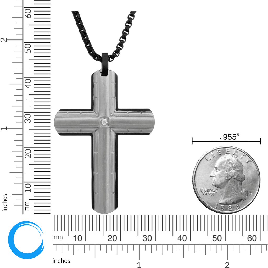 "Lavari - Stainless Steel Cross Pendant Necklace with Diamond Accent - 24"" - Men's"