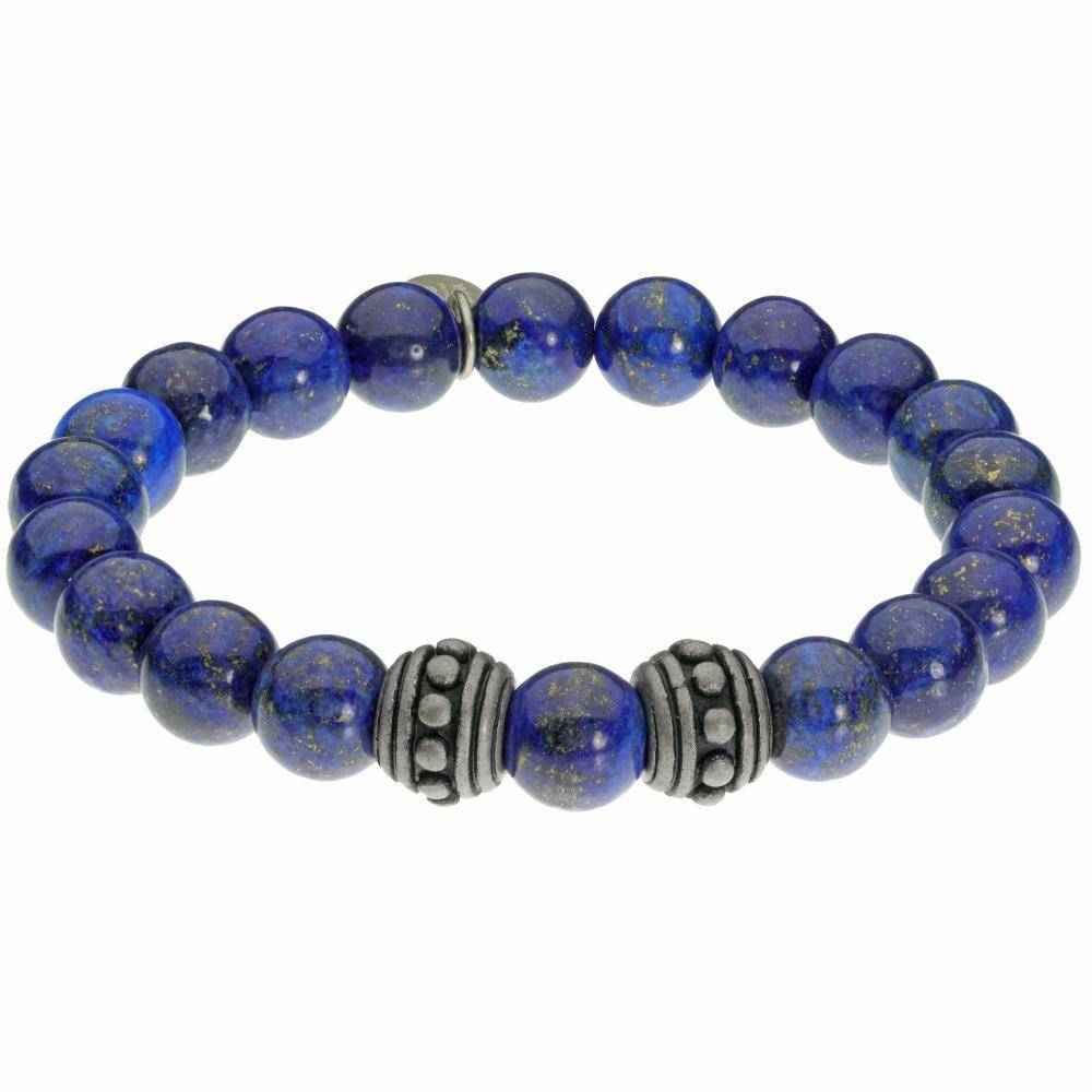 Lavari - Lapis Lazuli and Stainless Steel Stretch Bead Bracelet - Mens