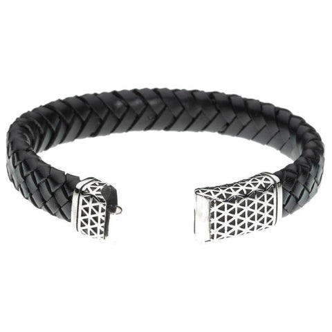 Image of Braided Black Leather and Stainless Steel Bracelet