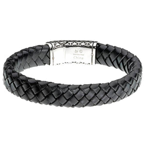 Braided Black Leather and Stainless Steel Bracelet