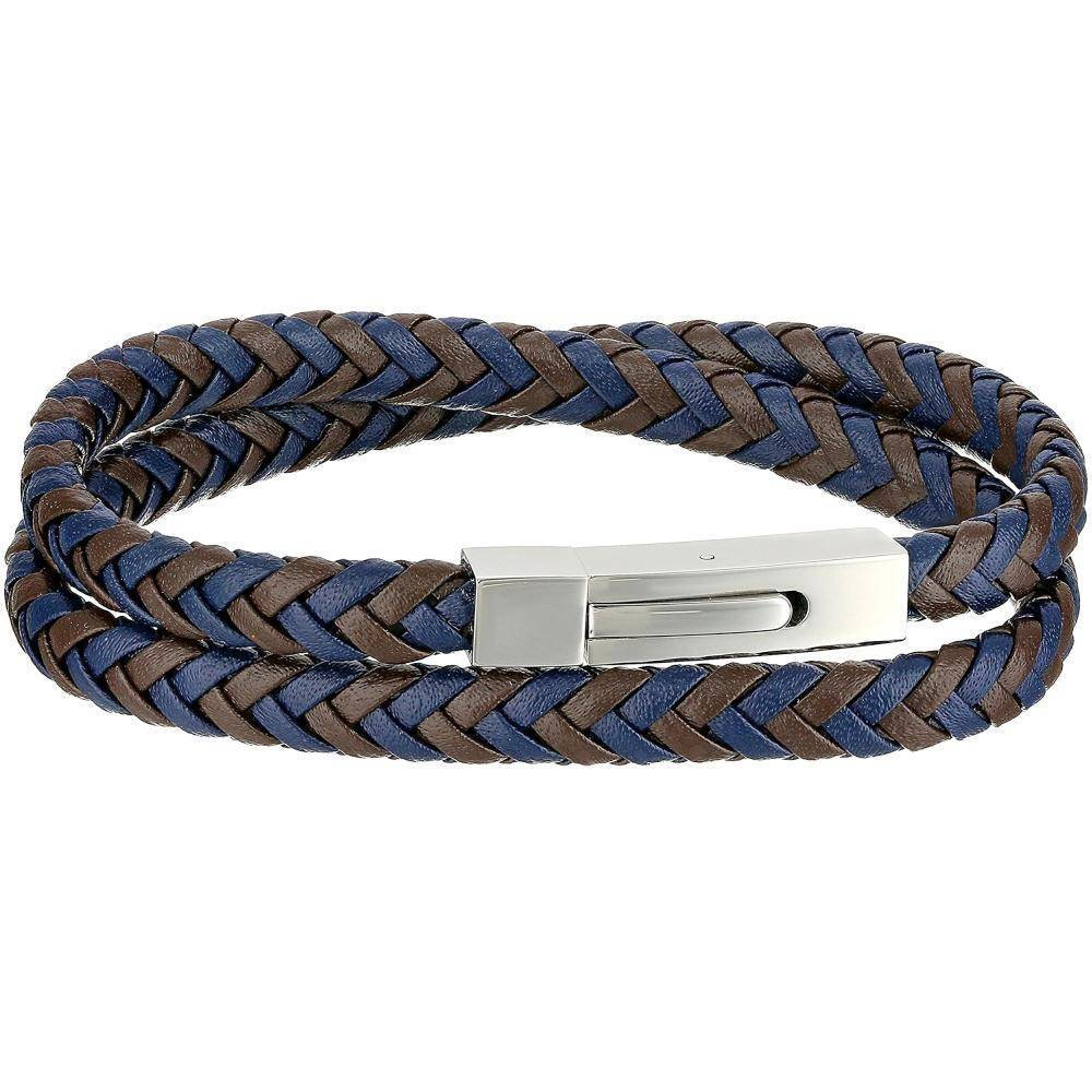 Braided Leather Wrap-Around Bracelet with Stainless Steel Clasp