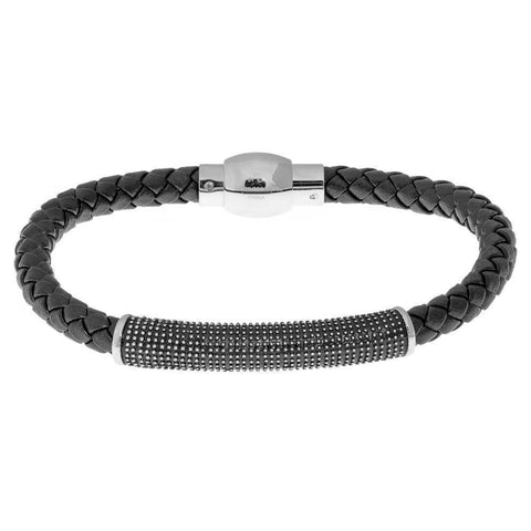 Image of Black Leather Braided Bracelet with Stainless Steel Clasp