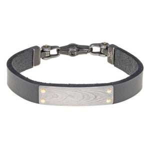 Damascus Steel and Black Leather Bracelet