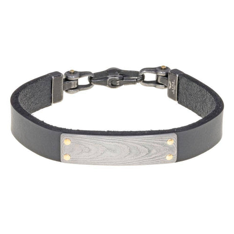 Image of Damascus Steel and Black Leather Bracelet