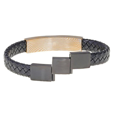 Black Leather Bracelet with Damascus Steel