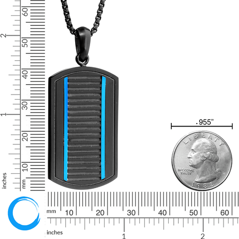 Image of Lavari - Men's Thin Blue Line Dog Tag Pendant - Stainless Steel - 24""