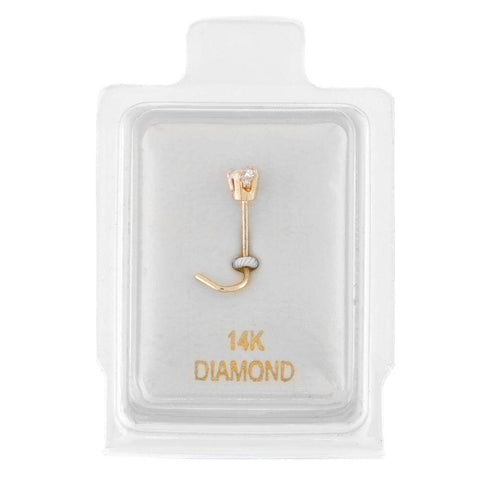 Image of 14 Karat Gold Diamond Accent Nose Ring Curve Stud 22 Gauge