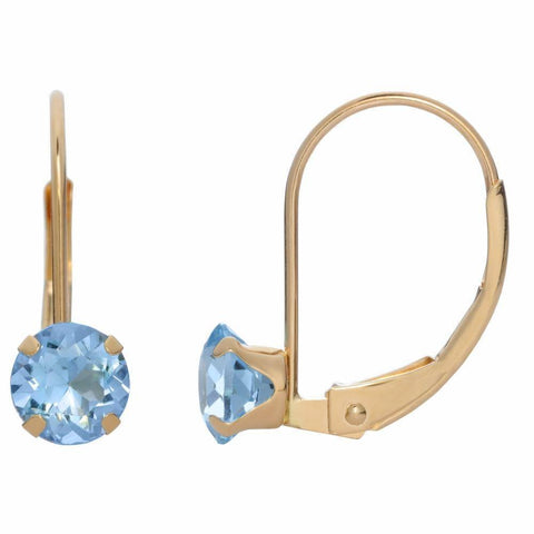 Image of 10K Gold 5mm Round Gemstone Drop Earrings