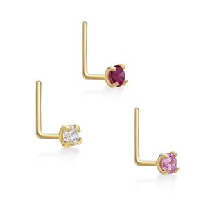 14 Karat Gold 2mm White Pink Red Cubic Zirconia Nose Ring Set 22 Gauge