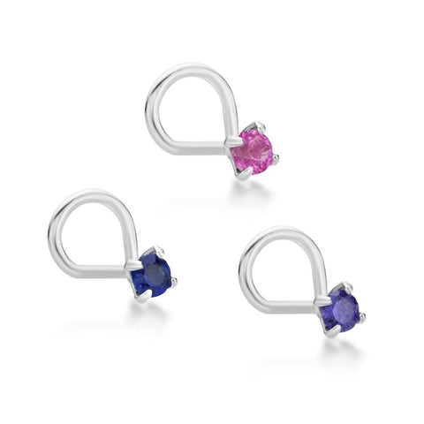 Image of 14 Karat Gold 2mm Created Pink Blue Purple sapphire Nose Ring Set 22 Gauge