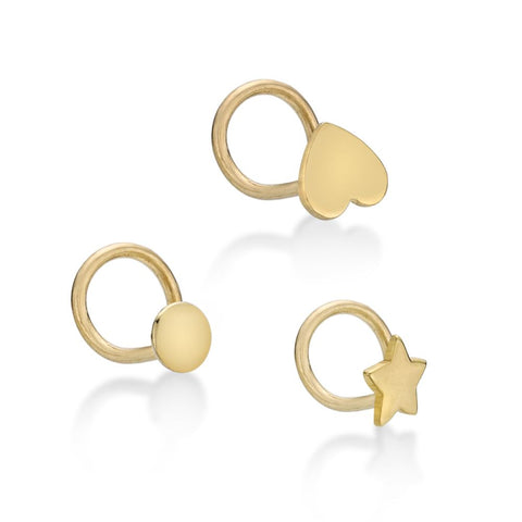 Image of 10 Karat Yellow Gold 2mm Circle Star Heart Nose Ring Set 22 Gauge