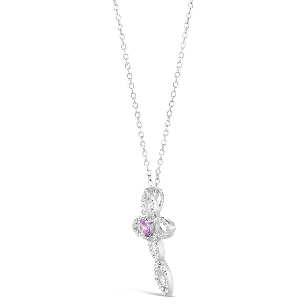 Sterling Silver Amethyst and Cubic Zirconia Twisted Cross Pendant