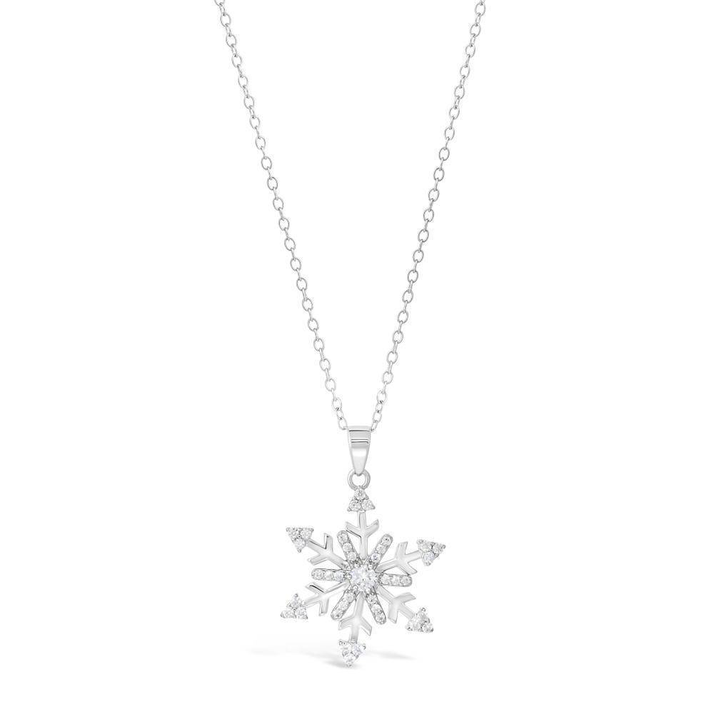 Sterling Silver Cubic Zirconia Snowflake Pendant Necklace