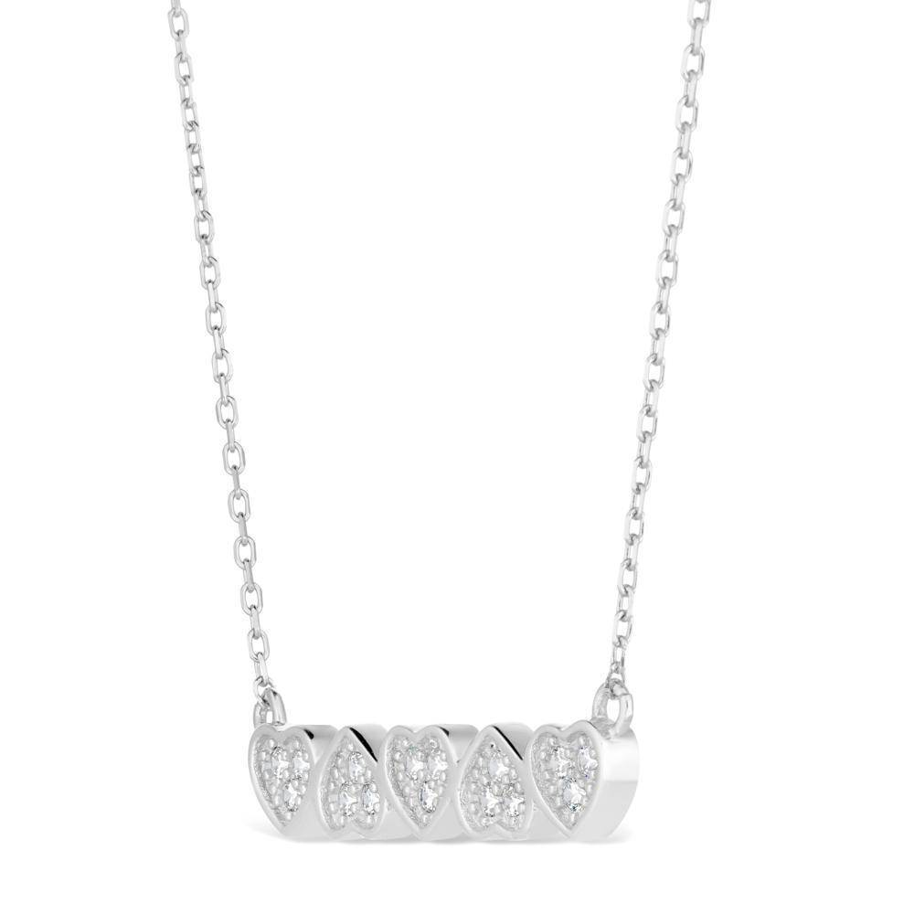 Sterling Silver Cubic Zirconia Heart Bar Pendant Necklace