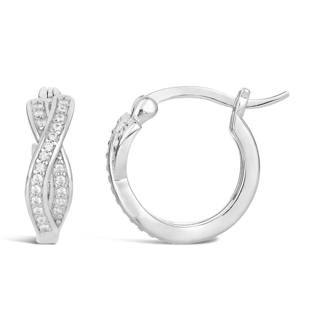 Lavari Jewelers - Sterling Silver 15mm twist Hoop Cubic Zirconium Earrings - Women's