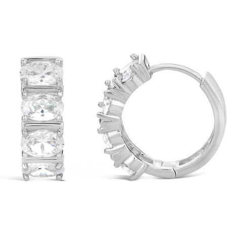Image of Sterling Silver 16MM Huggie Hoop Cubic Zirconium Earrings
