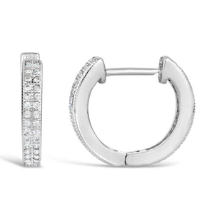 Sterling Silver 14MM Huggie Hoop Cubic Zirconium Earrings