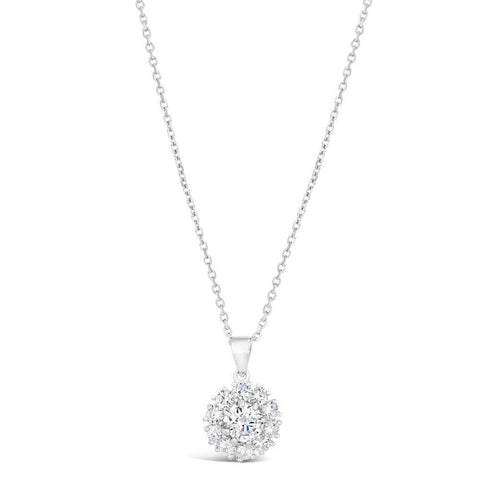 Image of Sterling Silver Cubic Zirconia Flower Pendant Necklace