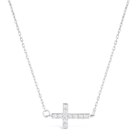 Sterling Silver Cubic Zirconia Sideways Cross Pendant Necklace