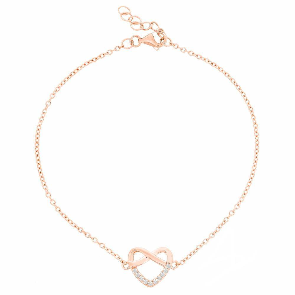 Cubic Zirconium Infinity Heart Stud Bracelet in Pink Gold Plated Sterling Silver