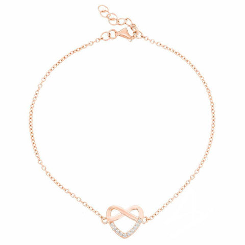 Image of Cubic Zirconium Infinity Heart Stud Bracelet in Pink Gold Plated Sterling Silver