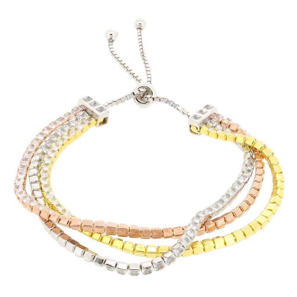 Multi Yellow and Pink Gold Plated Silver with Cubic Zirconium Adjustable Br