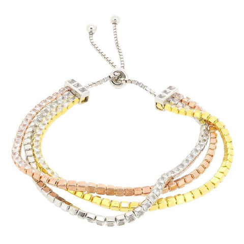 Image of Multi Yellow and Pink Gold Plated Silver with Cubic Zirconium Adjustable Br