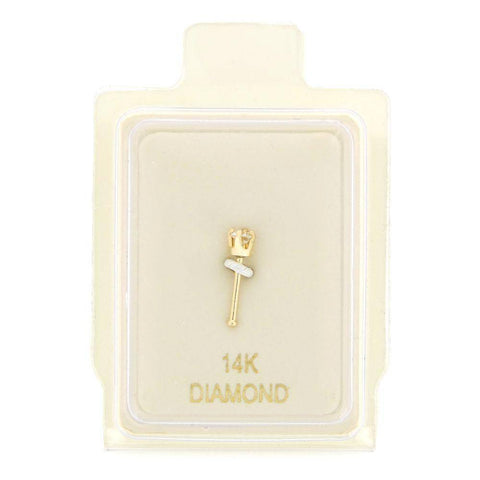 1.3mm Diamond Accent Nose Ring Straight Stud 22 Gauge in 14 Karat Gold
