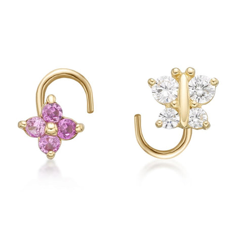 Image of 14 Karat Gold Butterfly and Flower Cubic Zirconium Nose Ring Set, 22 Gauge