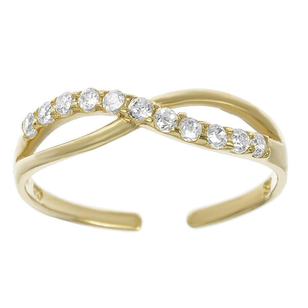 Lavari - 10K Toe Ring with Cubic Zirconia - Adjustable - Yellow Gold